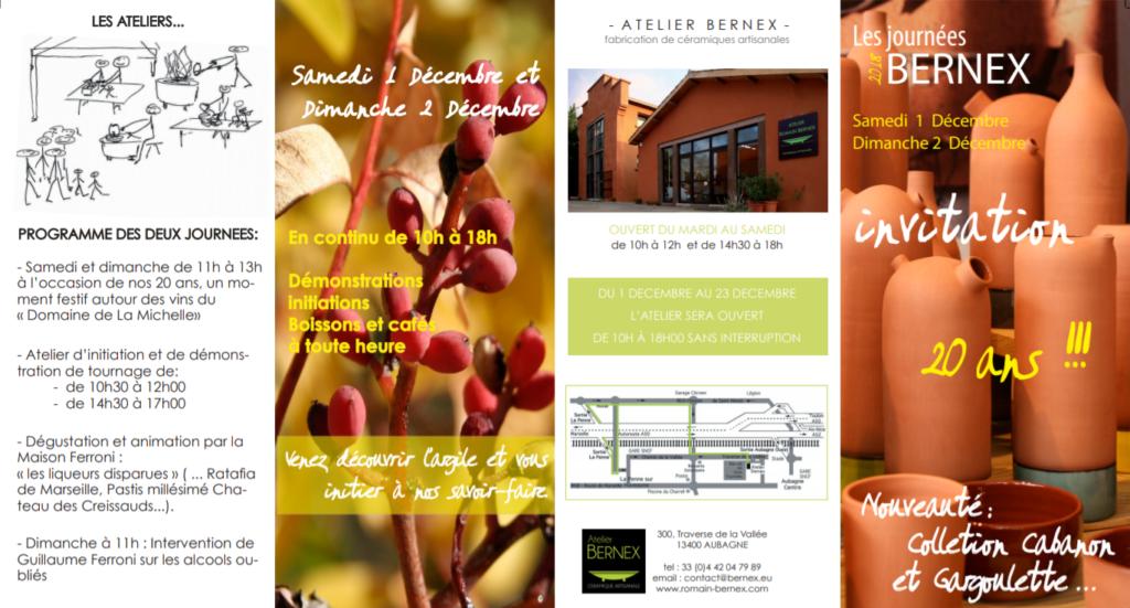 Atelier Bernex Flyer Noël Portes ouvertes - les 20 ans de l'atelier